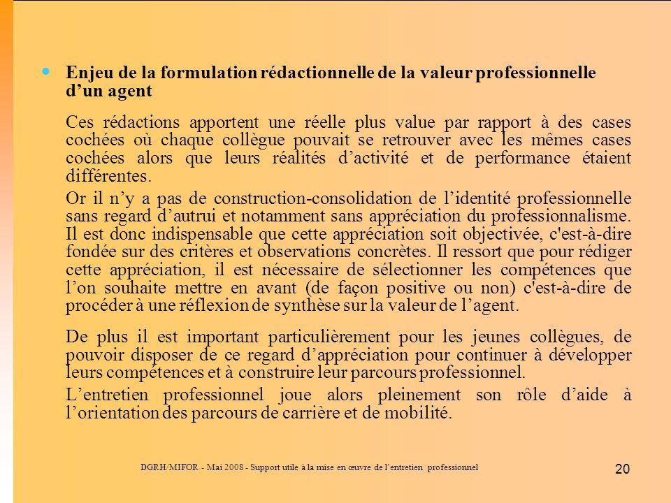 Enjeu de la formulation rédactionnelle de la valeur professionnelle d'un agent