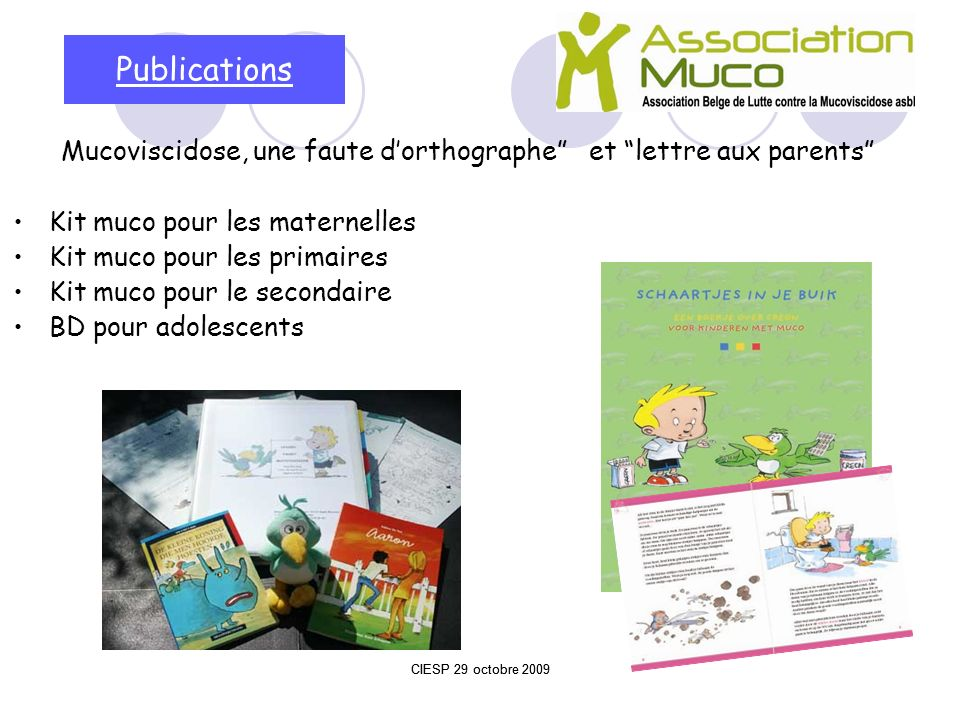 Publications Mucoviscidose, une faute d'orthographe et lettre aux parents Kit muco pour les maternelles.