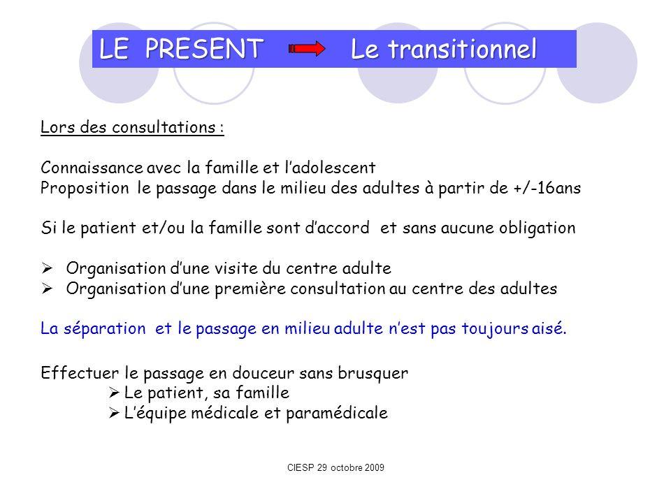 LE PRESENT Le transitionnel