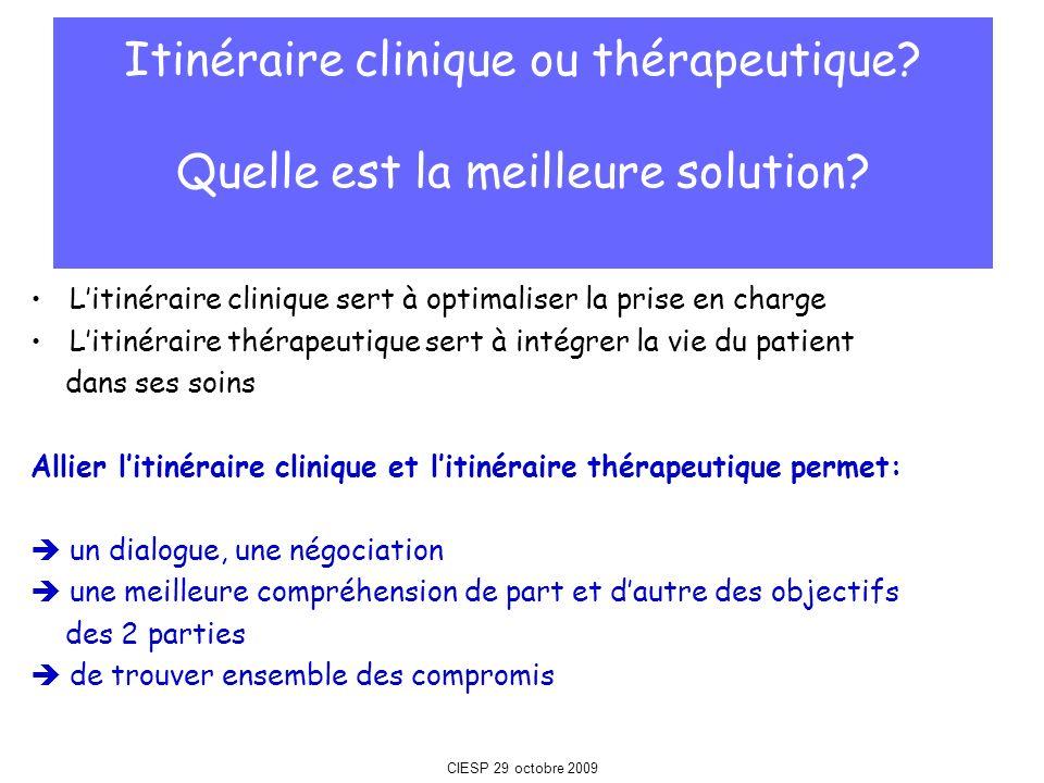 Itinéraire clinique ou thérapeutique Quelle est la meilleure solution