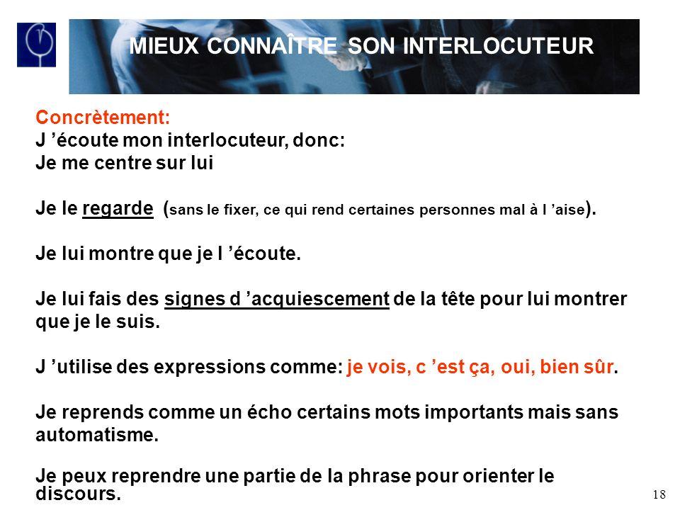 MIEUX CONNAÎTRE SON INTERLOCUTEUR