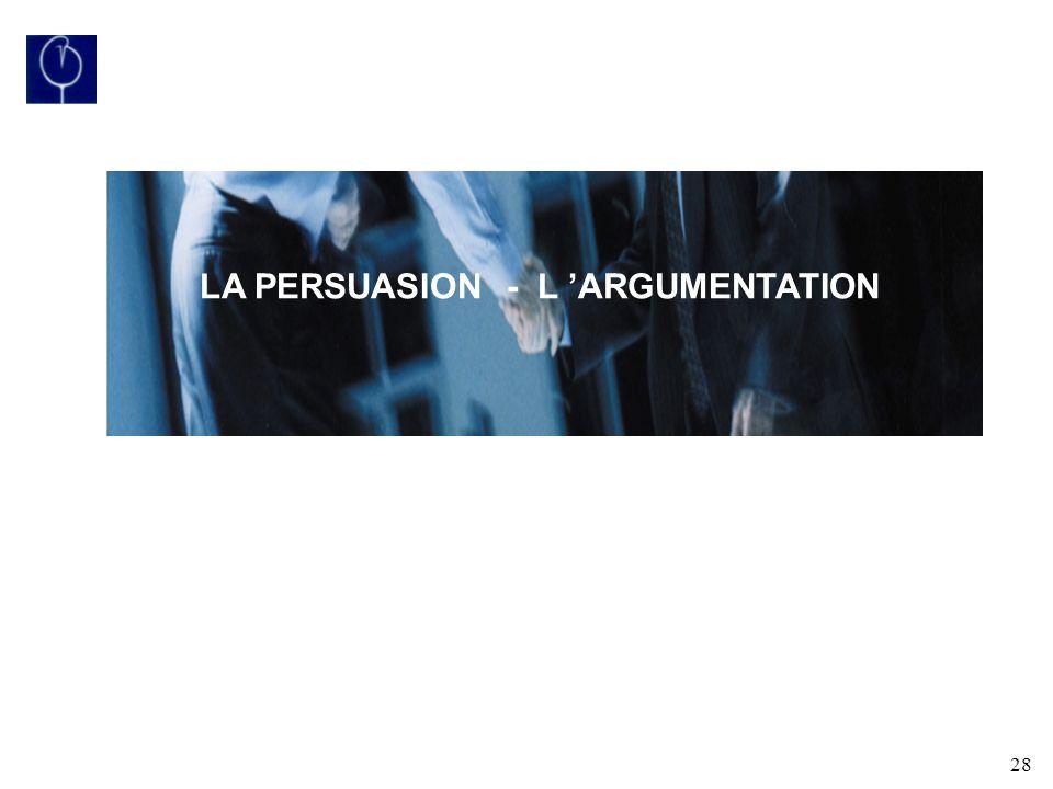 LA PERSUASION - L 'ARGUMENTATION