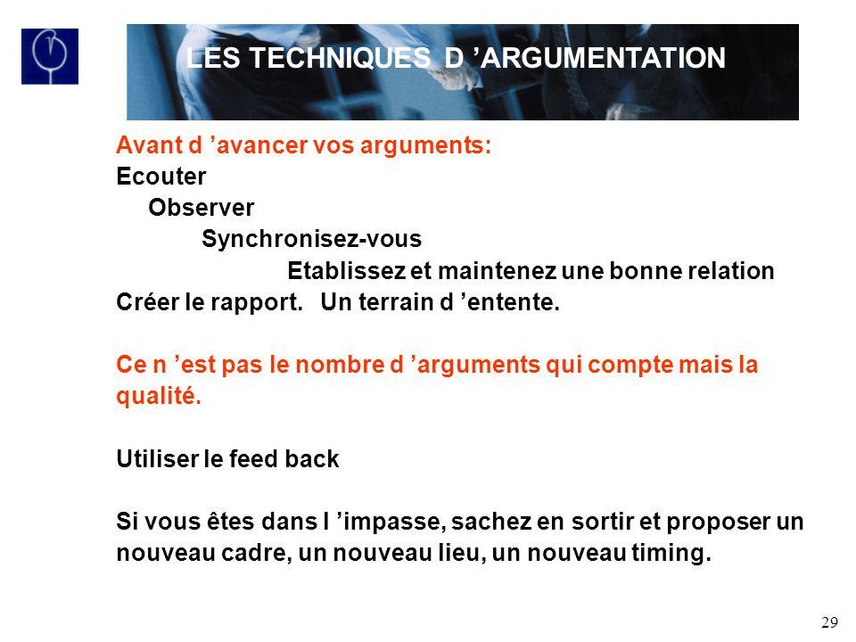 LES TECHNIQUES D 'ARGUMENTATION