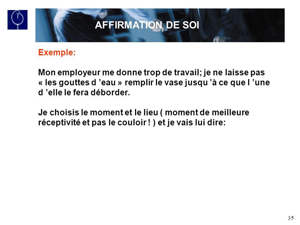 AFFIRMATION DE SOI Exemple: