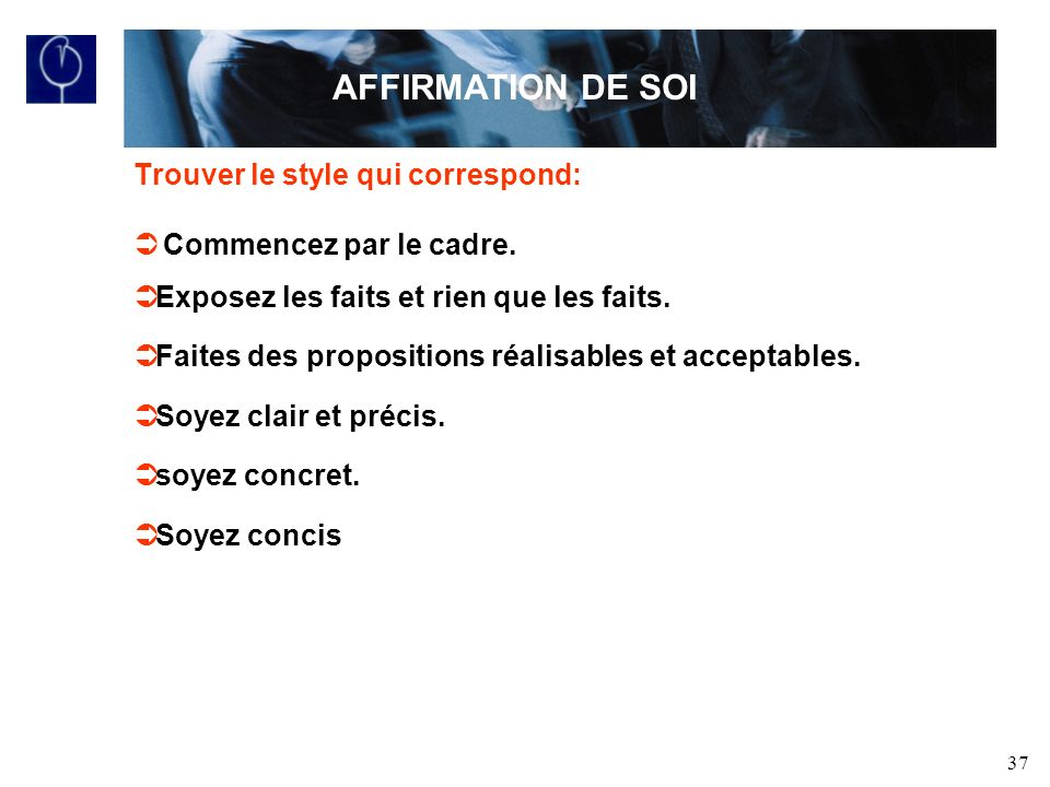 AFFIRMATION DE SOI Trouver le style qui correspond: