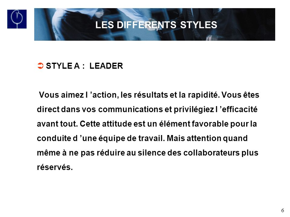 LES DIFFERENTS STYLES STYLE A : LEADER