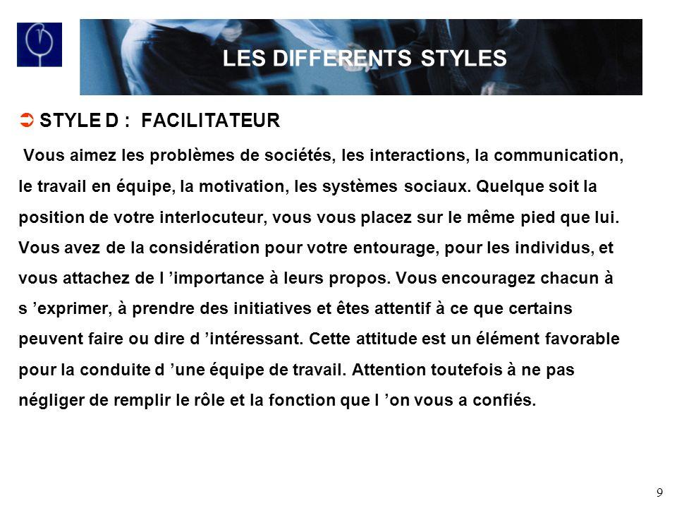 LES DIFFERENTS STYLES STYLE D : FACILITATEUR
