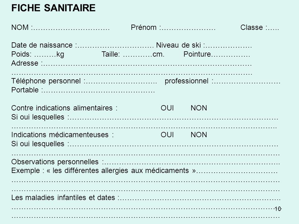 FICHE SANITAIRE NOM :…………………………. Prénom :…………………. Classe :…..