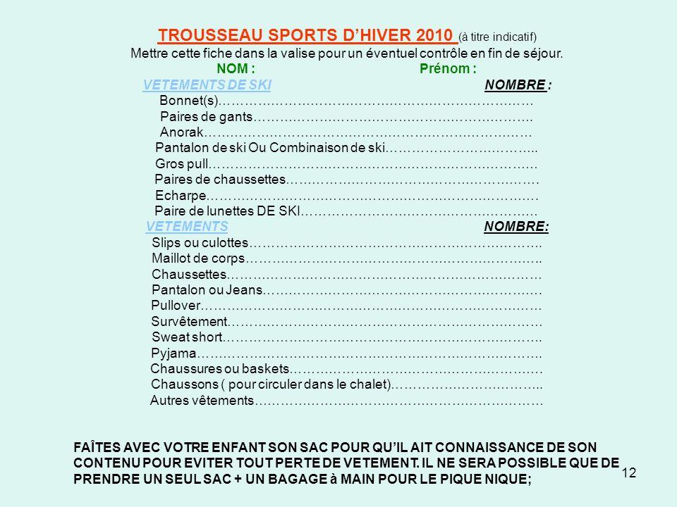 TROUSSEAU SPORTS D'HIVER 2010 (à titre indicatif)