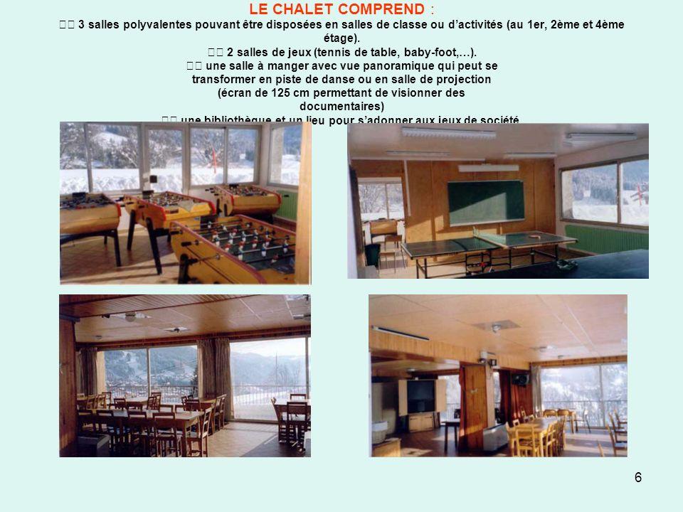 LE CHALET COMPREND :  3 salles polyvalentes pouvant être disposées en salles de classe ou d'activités (au 1er, 2ème et 4ème étage).