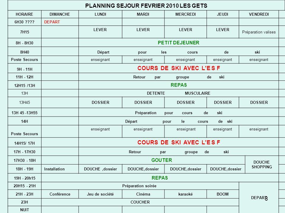 PLANNING SEJOUR FEVRIER 2010 LES GETS COURS DE SKI AVEC L E S F