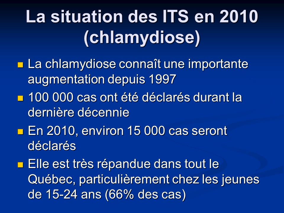 La situation des ITS en 2010 (chlamydiose)
