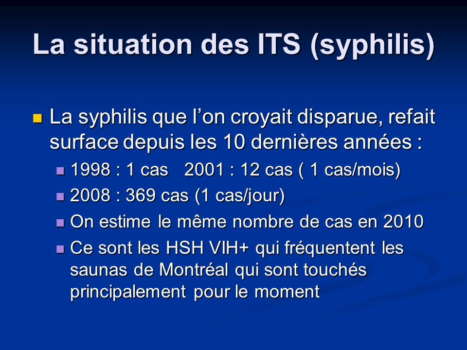 La situation des ITS (syphilis)