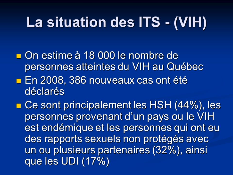 La situation des ITS - (VIH)