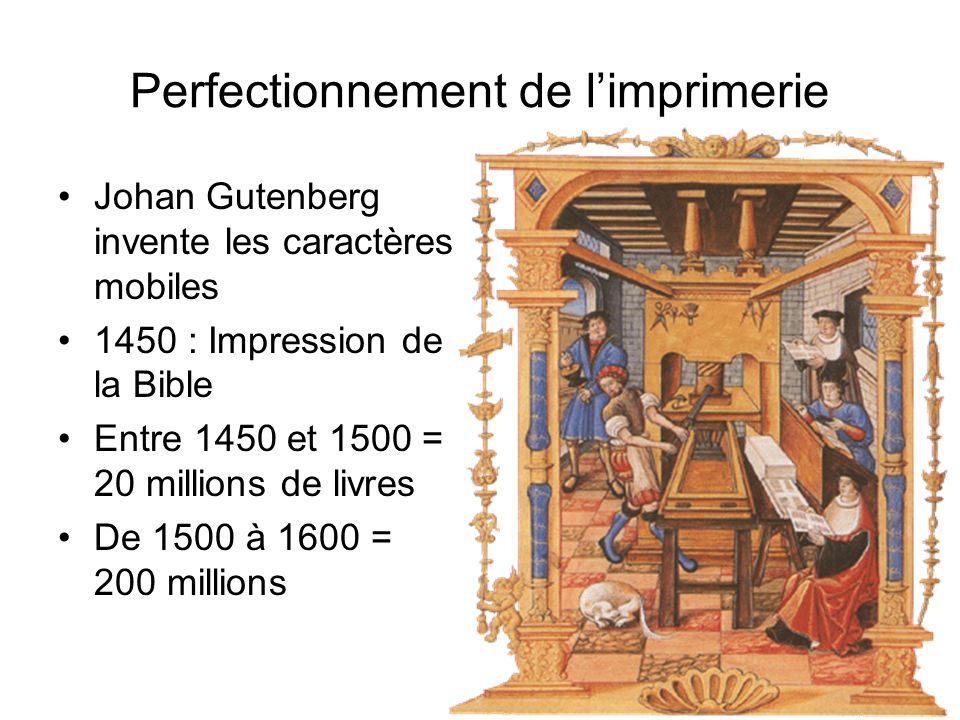Perfectionnement de l'imprimerie