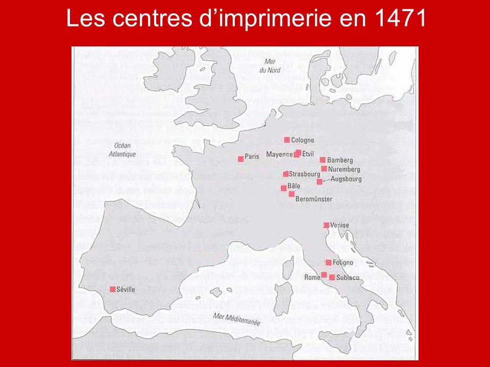 Les centres d'imprimerie en 1471