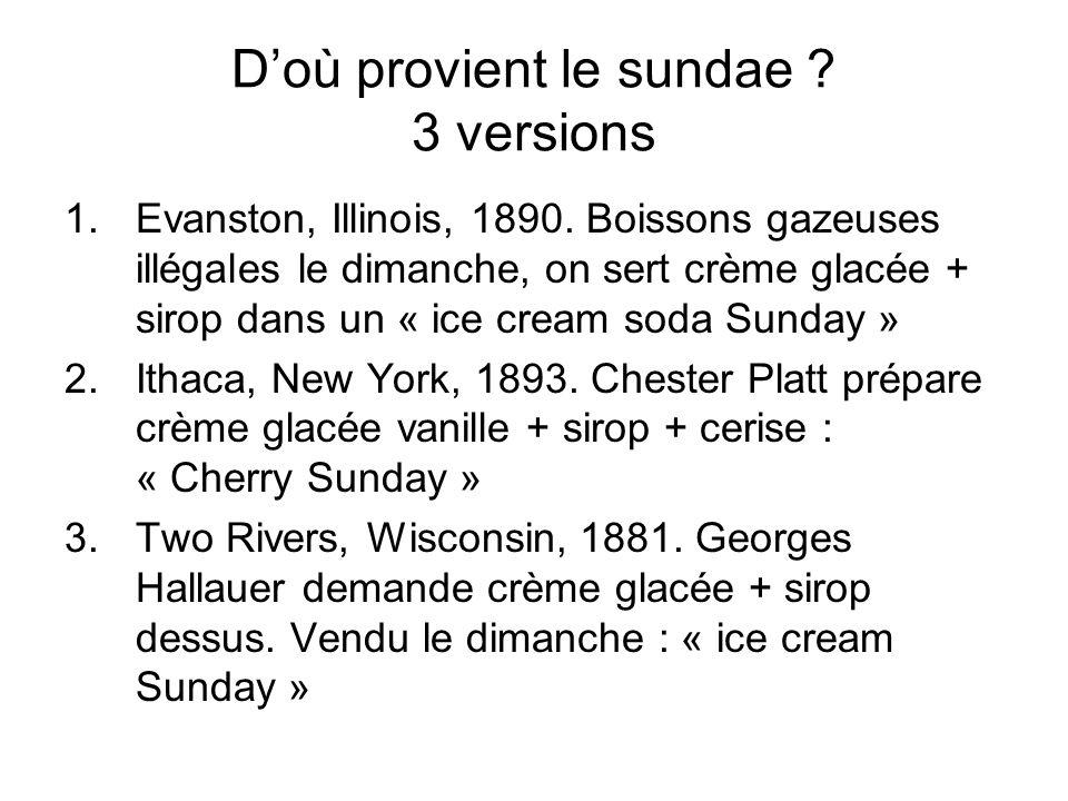 D'où provient le sundae 3 versions