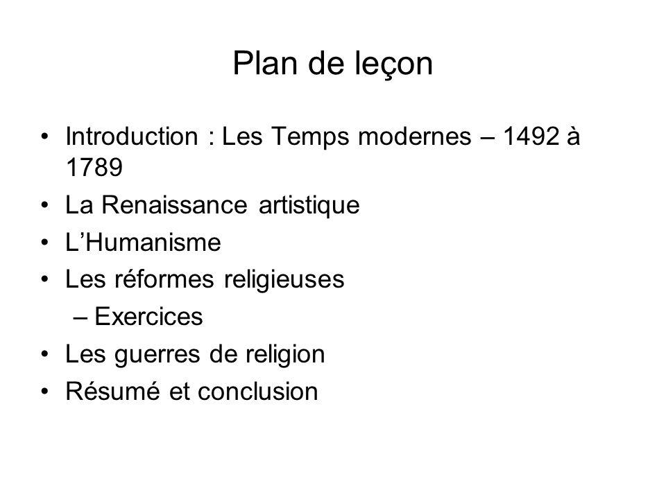 Plan de leçon Introduction : Les Temps modernes – 1492 à 1789