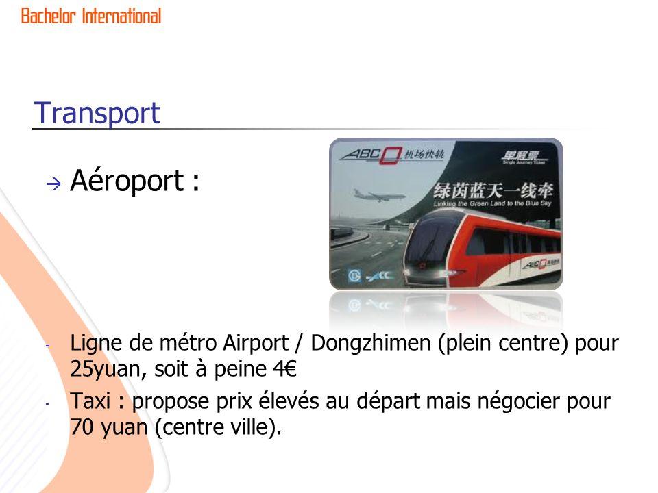 Transport Aéroport : Ligne de métro Airport / Dongzhimen (plein centre) pour 25yuan, soit à peine 4€