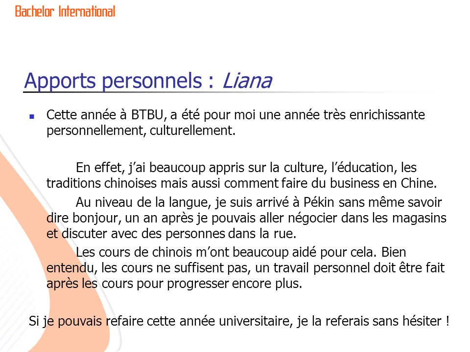 Apports personnels : Liana