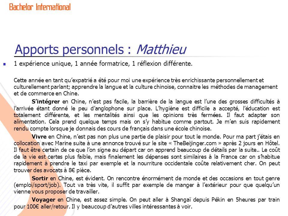 Apports personnels : Matthieu
