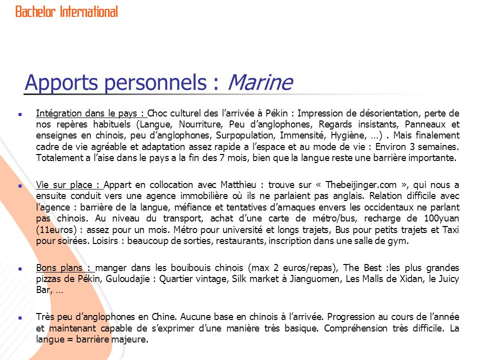 Apports personnels : Marine