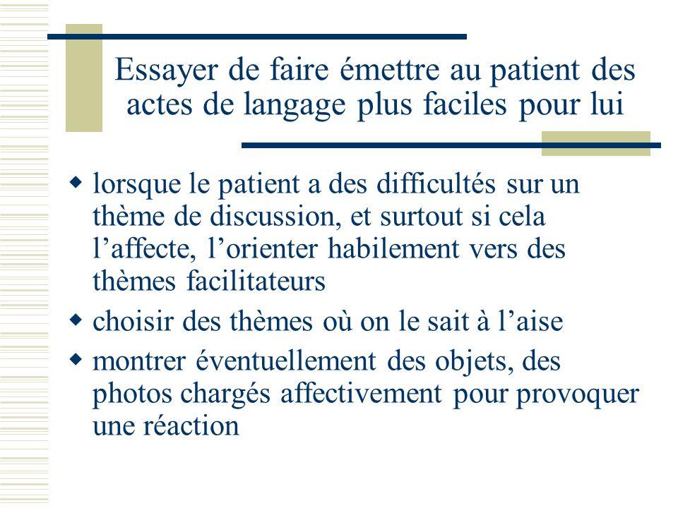 Essayer de faire émettre au patient des actes de langage plus faciles pour lui