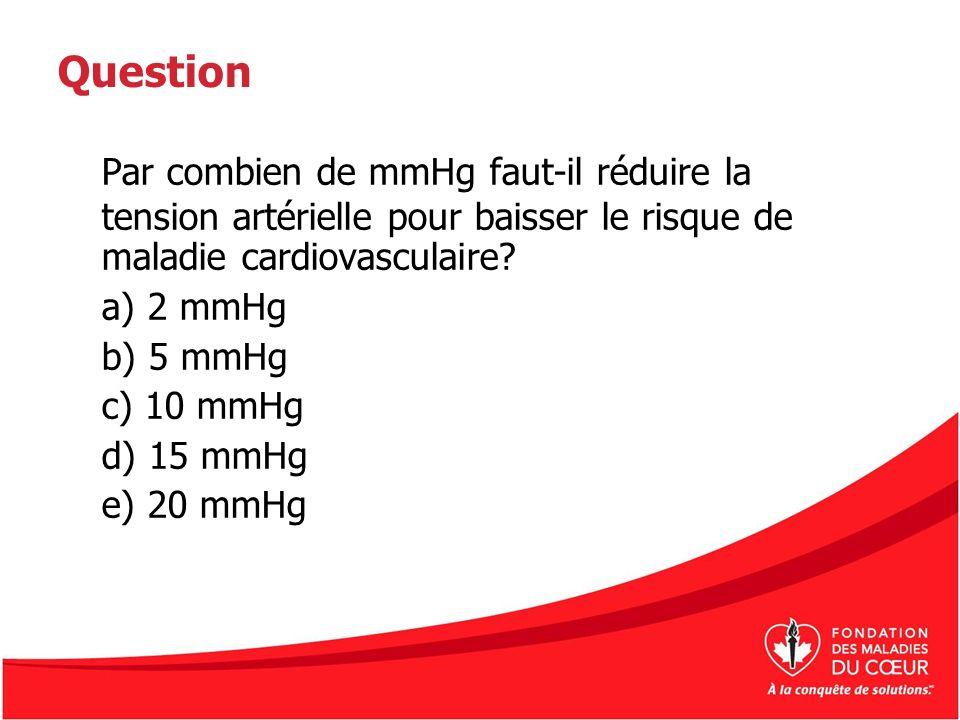 Question Par combien de mmHg faut-il réduire la tension artérielle pour baisser le risque de maladie cardiovasculaire