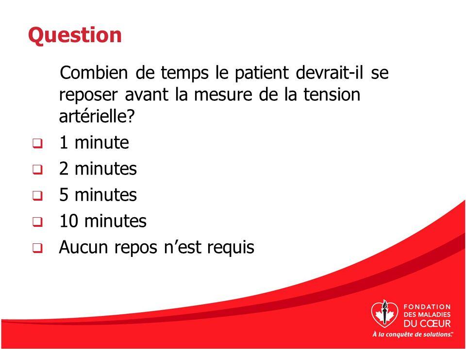 Question Combien de temps le patient devrait-il se reposer avant la mesure de la tension artérielle