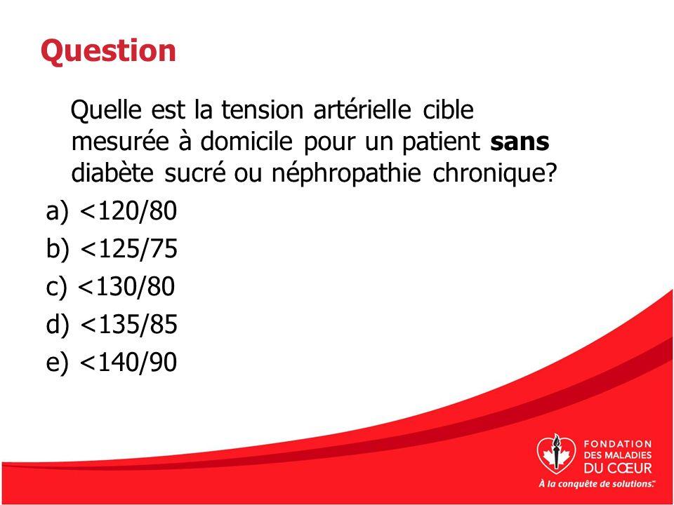 Question Quelle est la tension artérielle cible mesurée à domicile pour un patient sans diabète sucré ou néphropathie chronique