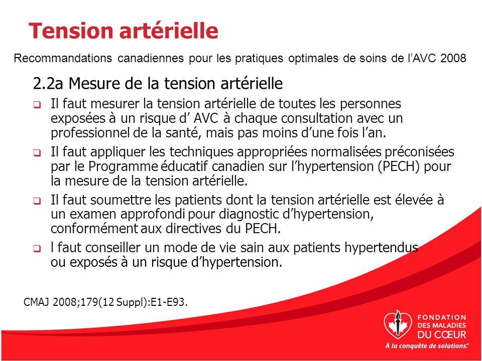Tension artérielle 2.2a Mesure de la tension artérielle