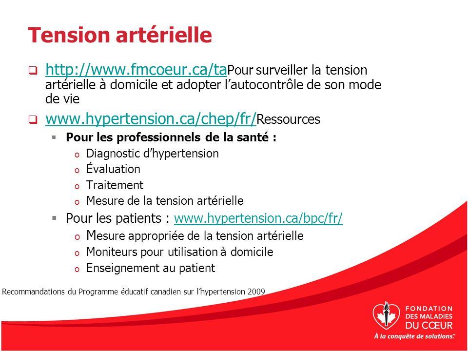 Tension artérielle http://www.fmcoeur.ca/taPour surveiller la tension artérielle à domicile et adopter l'autocontrôle de son mode de vie.