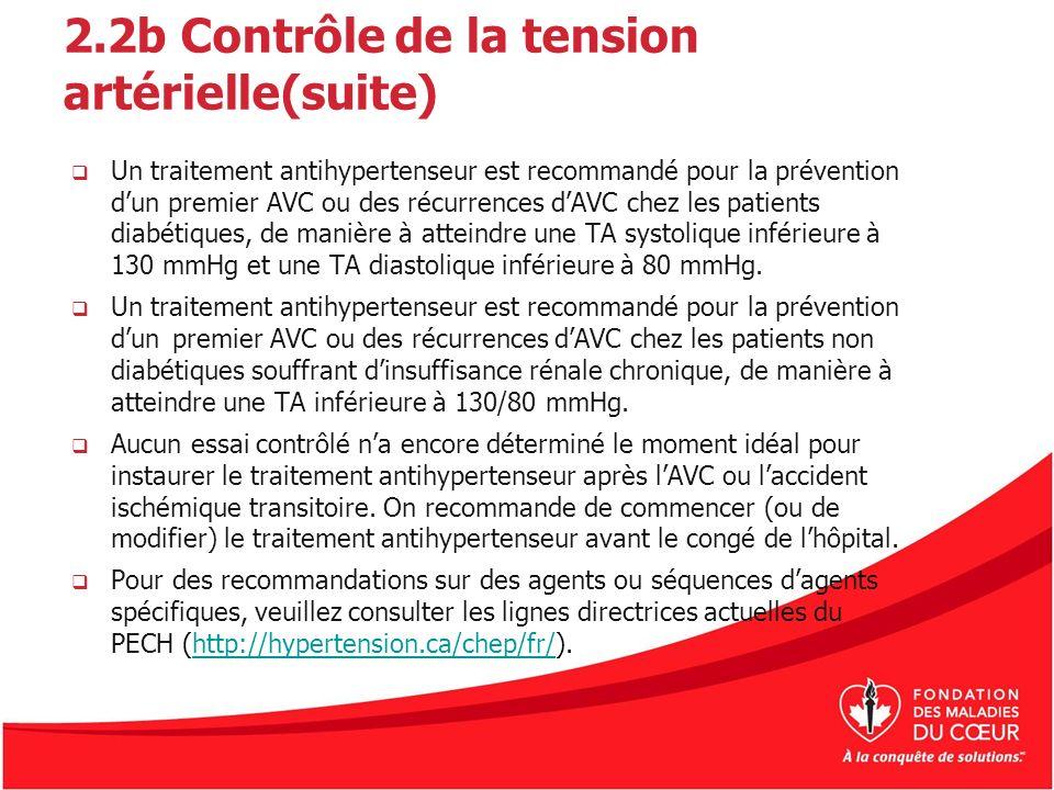 2.2b Contrôle de la tension artérielle(suite)