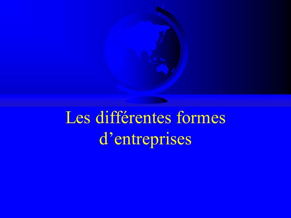 Les différentes formes d'entreprises