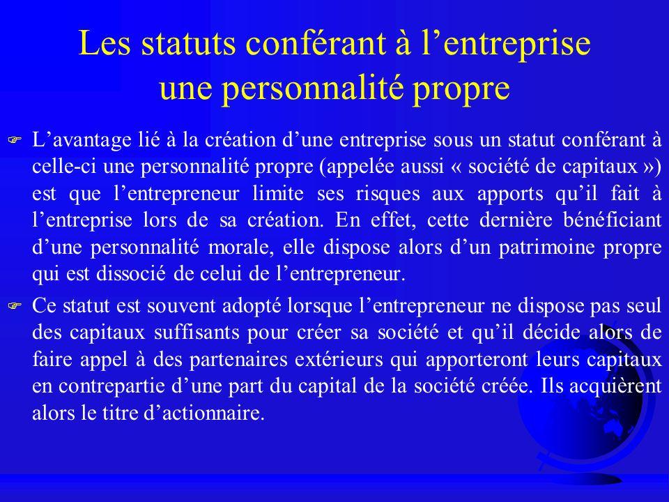Les statuts conférant à l'entreprise une personnalité propre