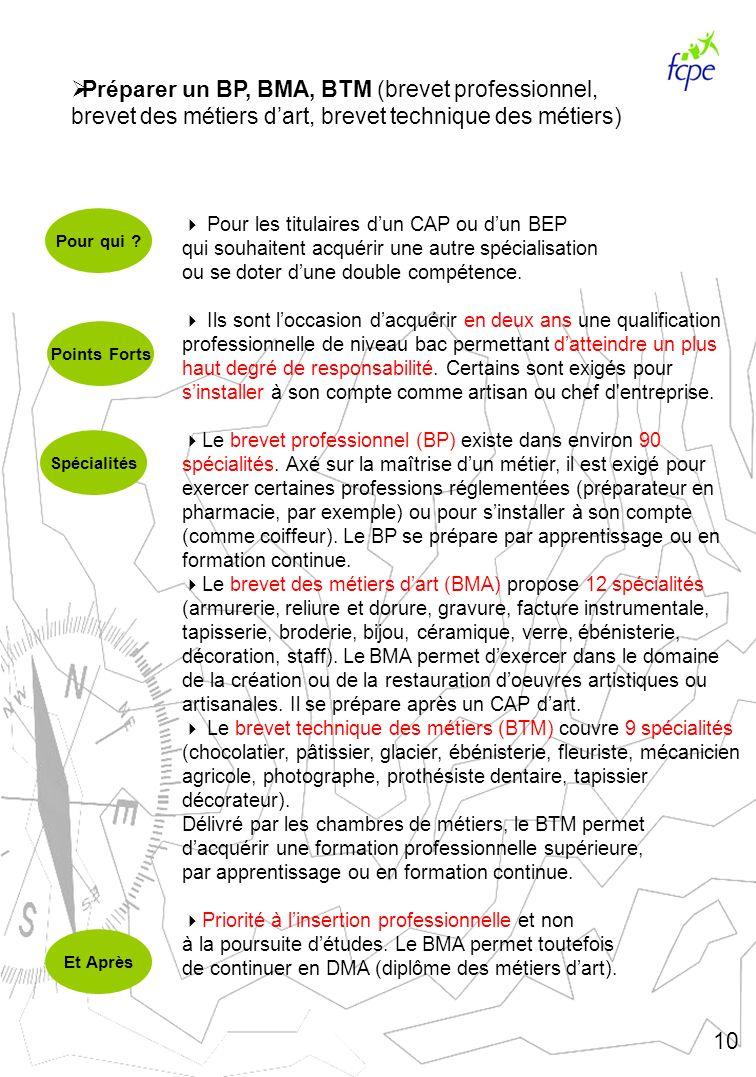 Préparer un BP, BMA, BTM (brevet professionnel, brevet des métiers d'art, brevet technique des métiers)