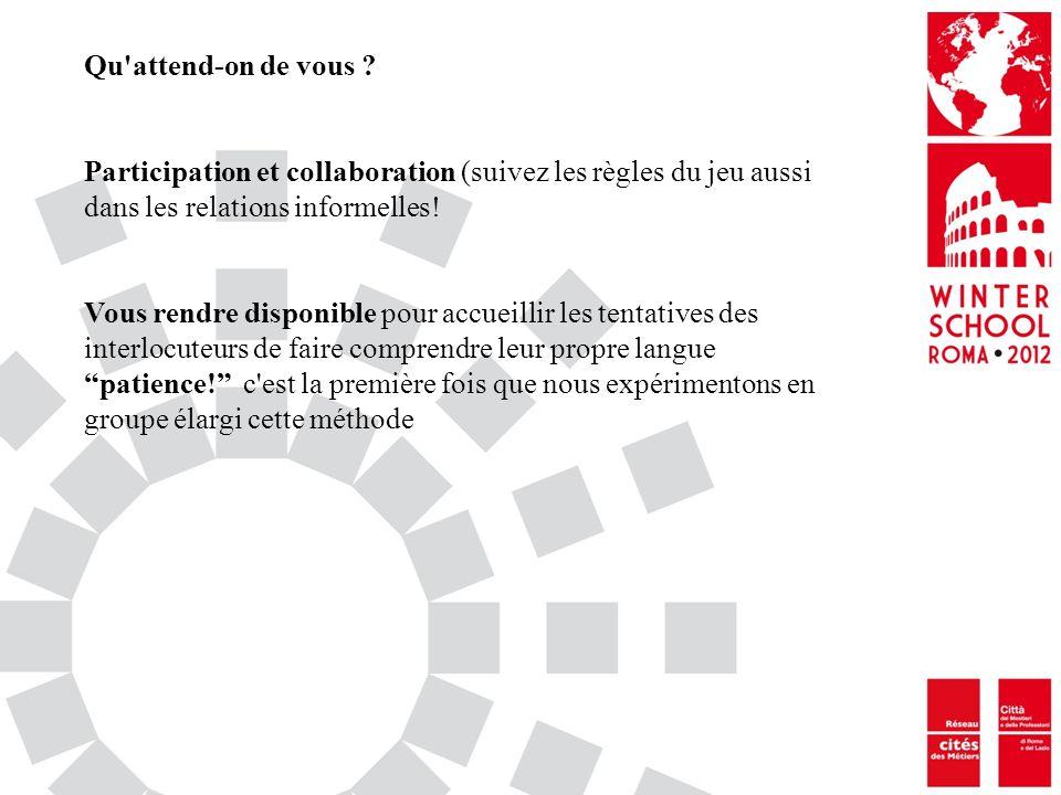 Qu attend-on de vous Participation et collaboration (suivez les règles du jeu aussi dans les relations informelles!