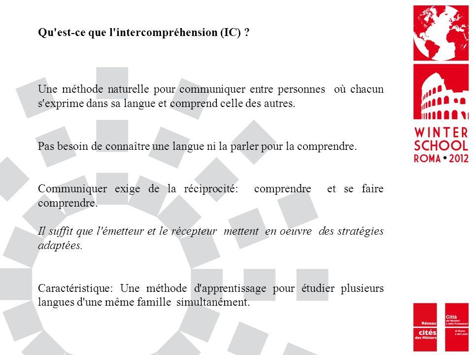 Qu est-ce que l intercompréhension (IC)