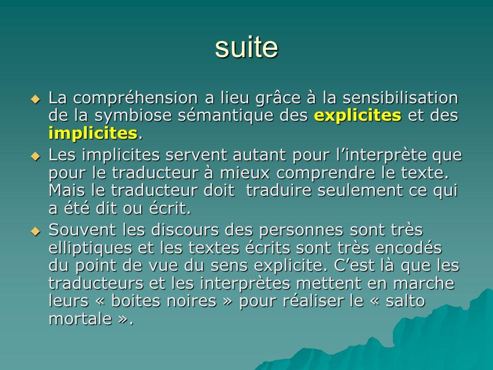 suite La compréhension a lieu grâce à la sensibilisation de la symbiose sémantique des explicites et des implicites.