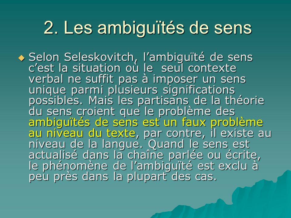 2. Les ambiguïtés de sens