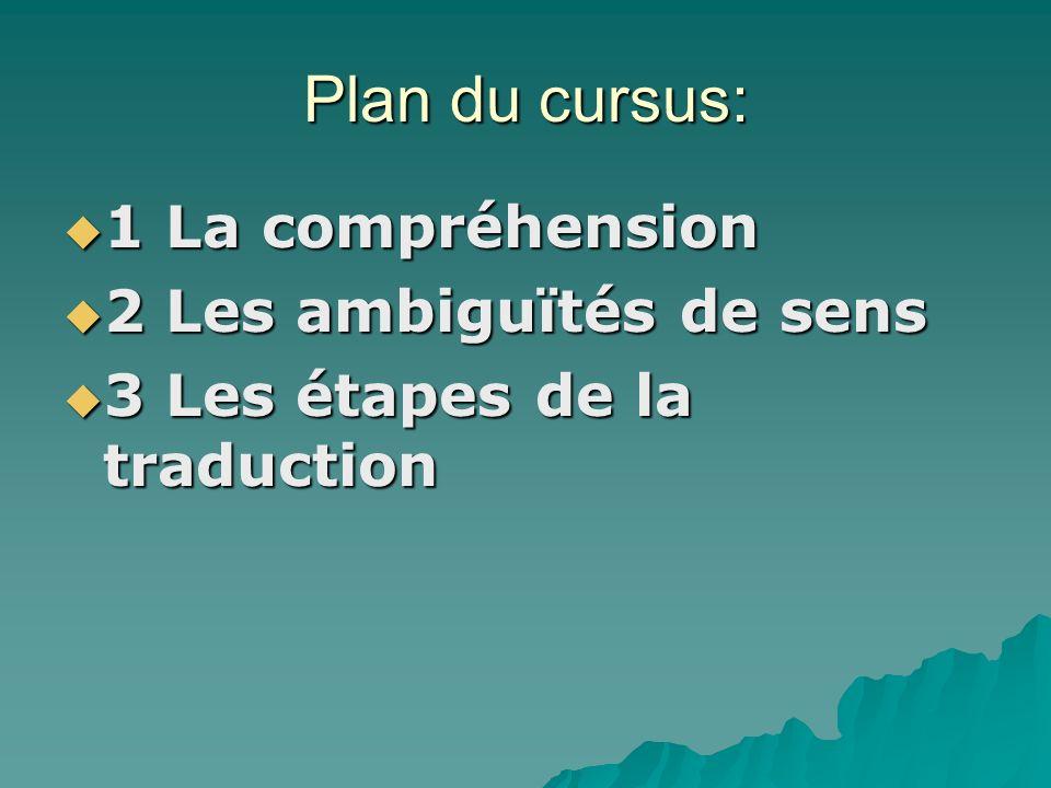 Plan du cursus: 1 La compréhension 2 Les ambiguïtés de sens