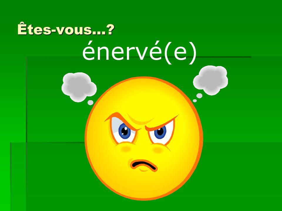Êtes-vous… énervé(e)