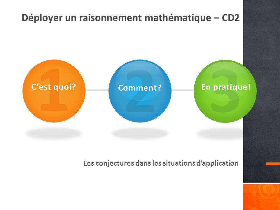 1 2 3 Déployer un raisonnement mathématique – CD2 C'est quoi Comment