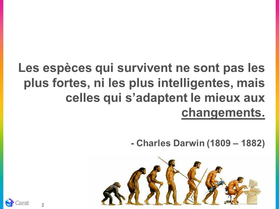 Les espèces qui survivent ne sont pas les plus fortes, ni les plus intelligentes, mais celles qui s'adaptent le mieux aux changements. - Charles Darwin (1809 – 1882)