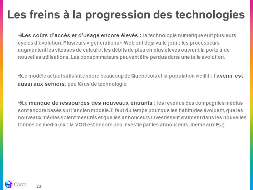 Les freins à la progression des technologies