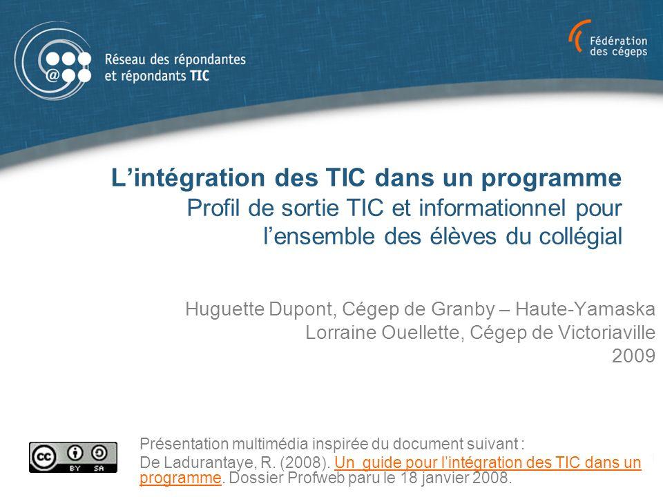 L'intégration des TIC dans un programme Profil de sortie TIC et informationnel pour l'ensemble des élèves du collégial