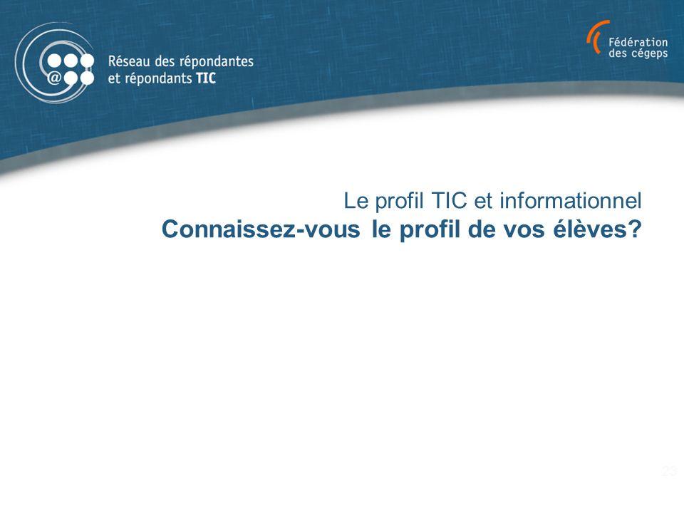 Le profil TIC et informationnel Connaissez-vous le profil de vos élèves