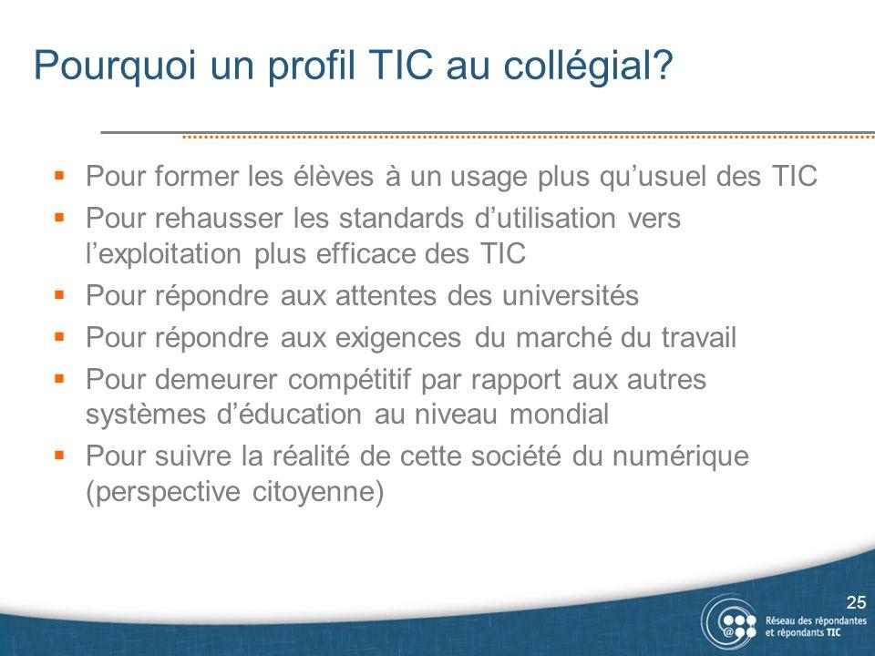 Pourquoi un profil TIC au collégial