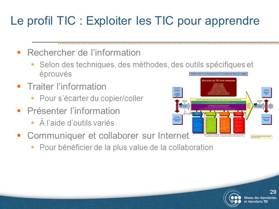 Le profil TIC : Exploiter les TIC pour apprendre