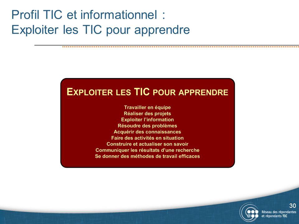 Profil TIC et informationnel : Exploiter les TIC pour apprendre